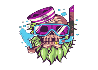 skull snorkle t shirt template vector
