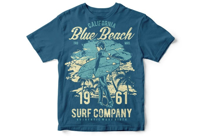 Blue Beach T shirt Design - Blue Beach buy t shirt design