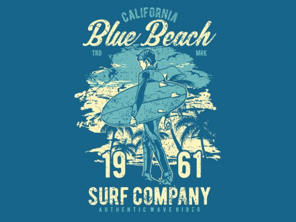 Blue Beach t shirt template