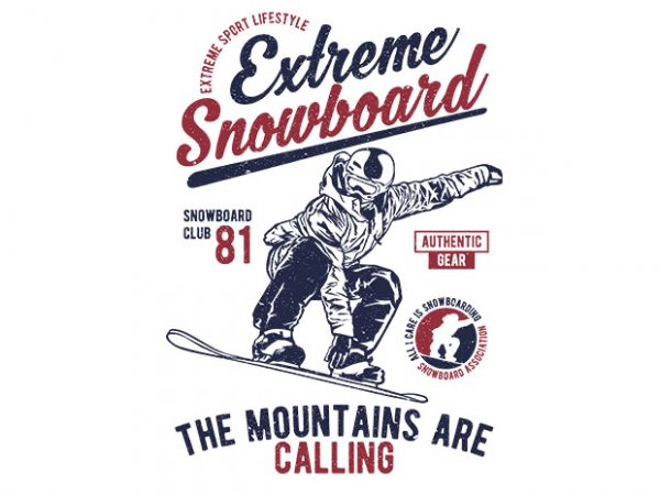 Extreme Snowboard buy t shirt design