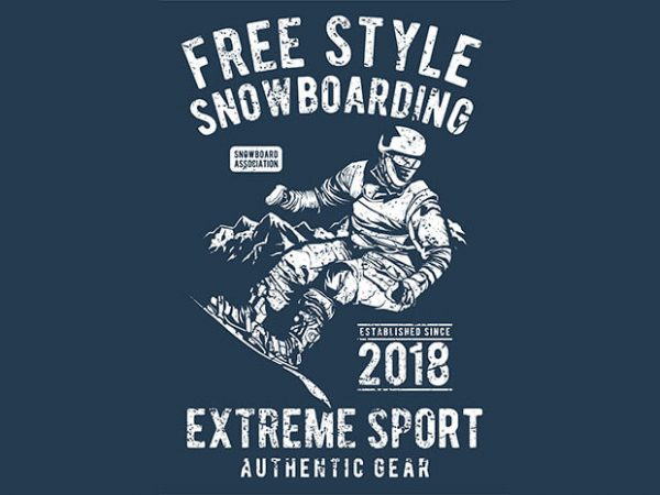 Free Style Snowboarding t shirt graphic design