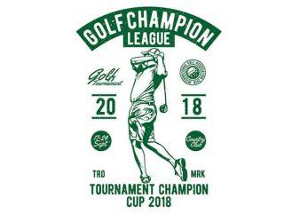 Golf Champion League t shirt design template