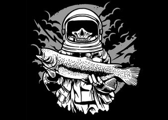 Astronaut Fishing tshirt design