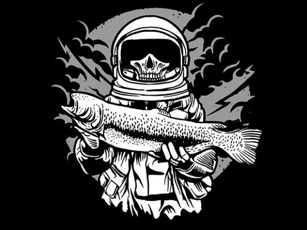 Astronaut Fishing tshirt design buy t shirt design
