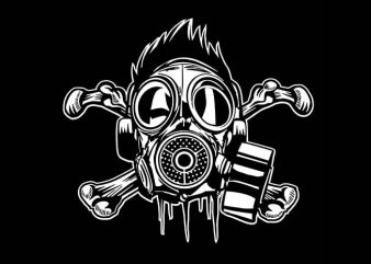 Cross Bones Gasmask t shirt vector file