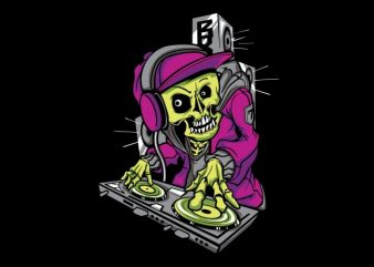 DJ Skull t shirt vector illustration