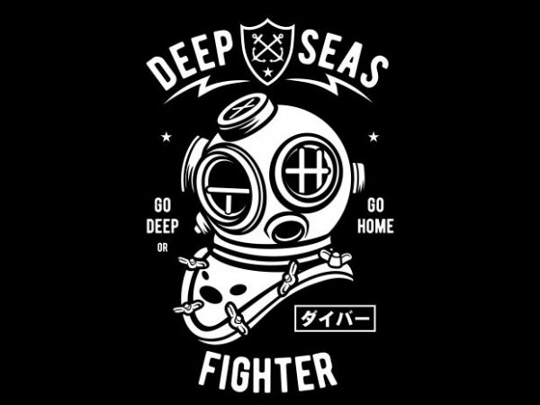 Deep Seas Fighter t shirt vector illustration