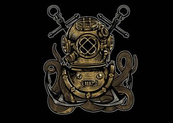 Diver Octopus tshirt design buy t shirt design