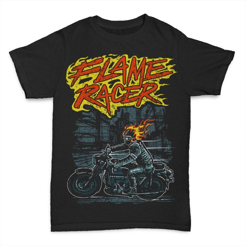 Flame Racer T shirt template 24032 - Flame Racer t shirt design buy t shirt design