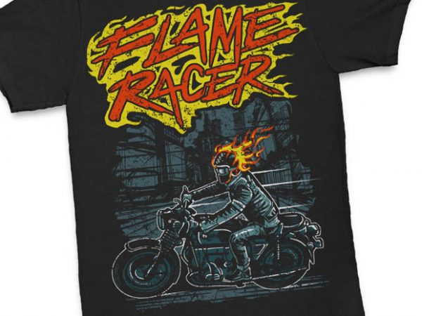 Flame Racer t shirt design