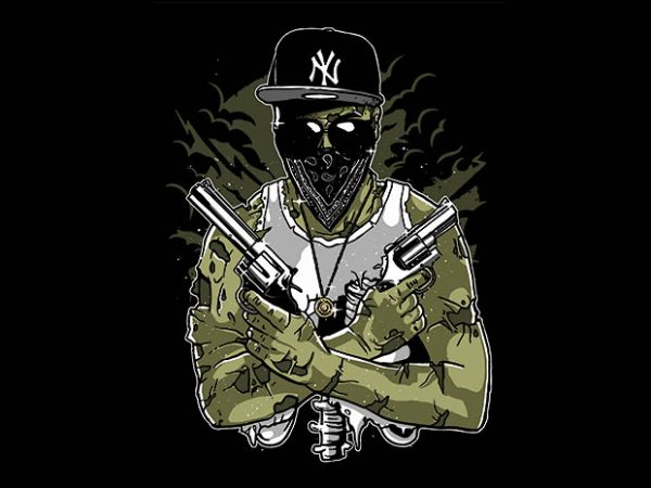 Gangsta Zombie tshirt design buy t shirt design