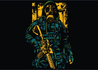 Gas Mask Soldier t shirt design template