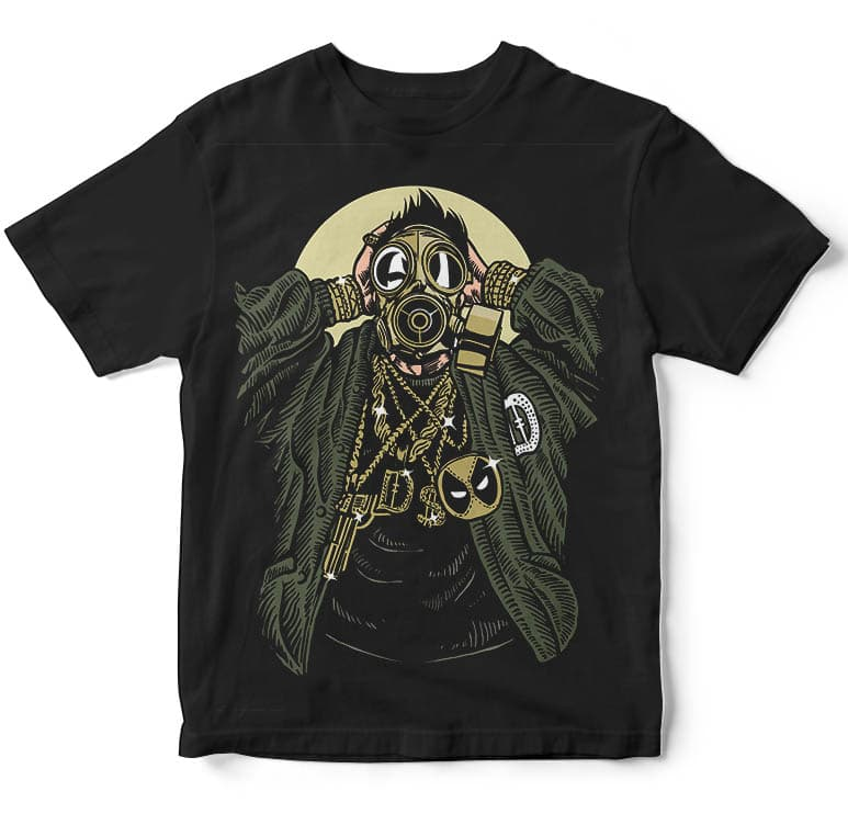 Gasmask Gangsta tshirt design buy t shirt design