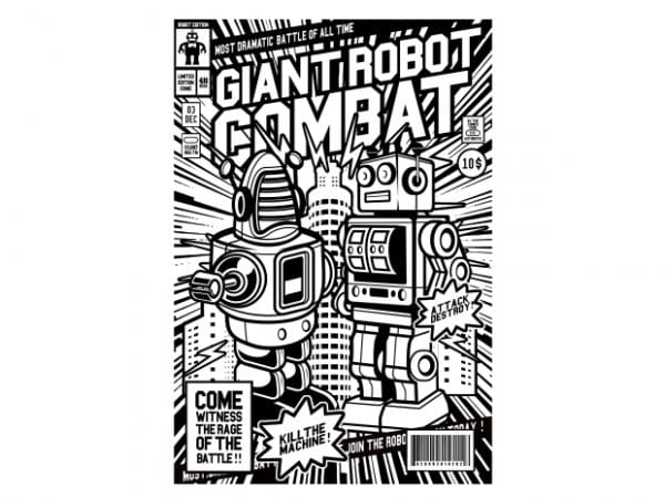 Giant Robot Combat t shirt design template