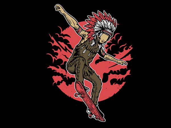 Indian Chief Skateboard tshirt design buy t shirt design