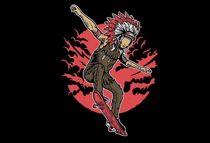 Indian Chief Skateboard tshirt design - Indian Chief Skateboard tshirt design buy t shirt design