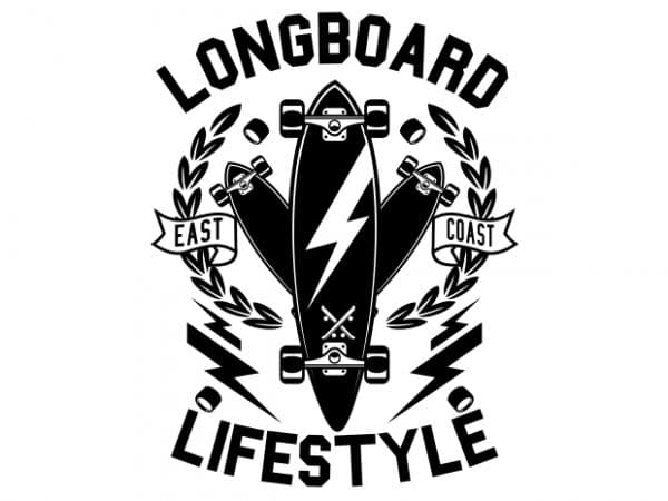 Longboard Lifestyle t shirt vector graphic