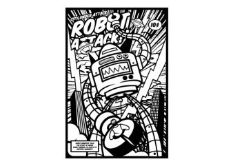 Robot Attack buy t shirt design