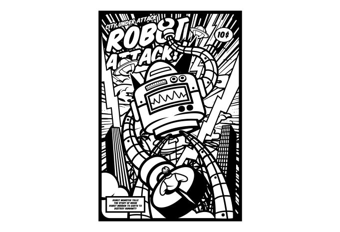 Robot Attack Display - Robot Attack buy t shirt design