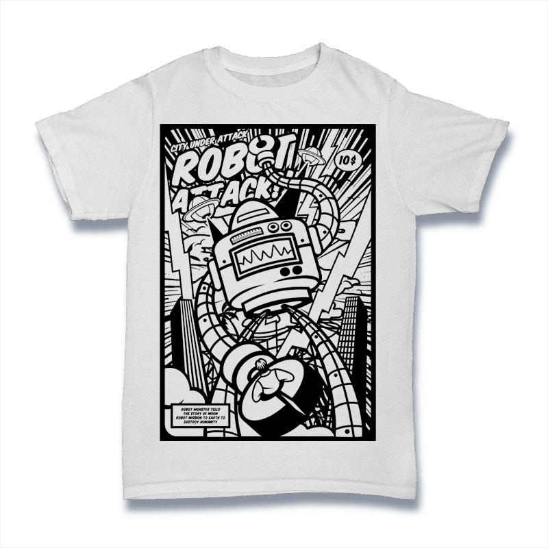 Robot Attack buy t shirt design