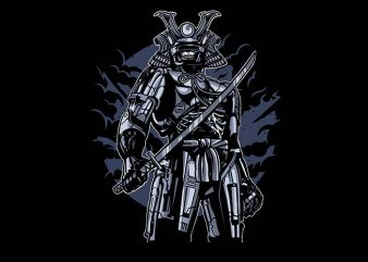 Samurai Robot Skull t shirt design buy t shirt design