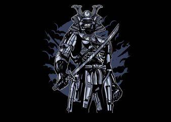 Samurai Robot Skull t shirt design