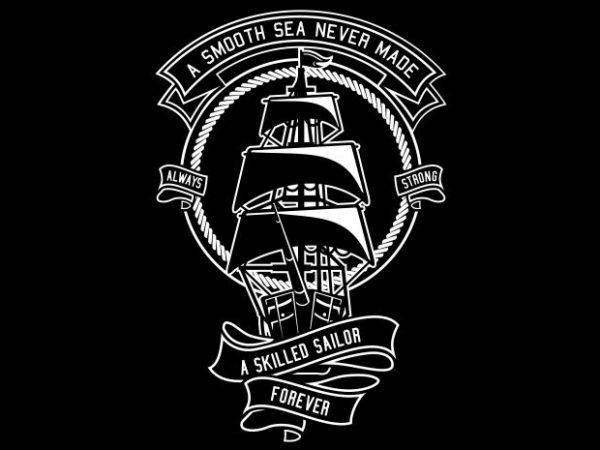 Skilled Sailor t shirt template vector