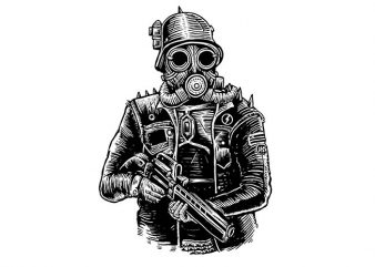Steampunk Soldier t shirt design