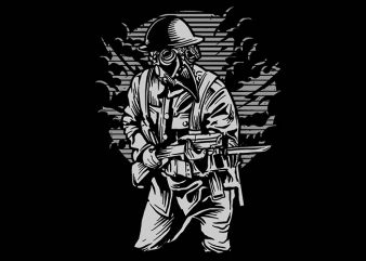 Steampunk Style Soldier t shirt design