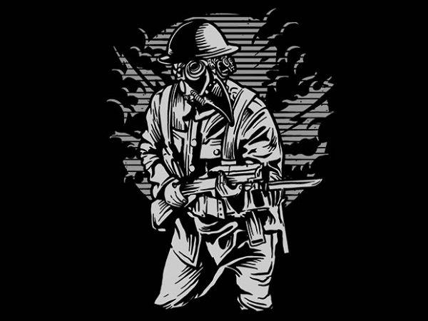 Steampunk Style Soldier t shirt design