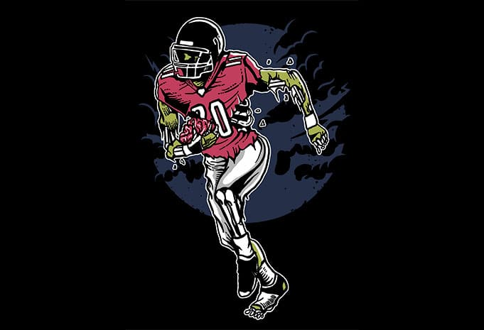 Zombie Football tshirt design - Zombie Football t shirt design buy t shirt design