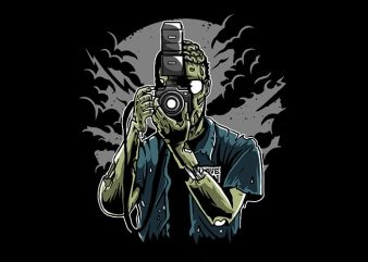 Zombie Photographer t shirt design buy t shirt design