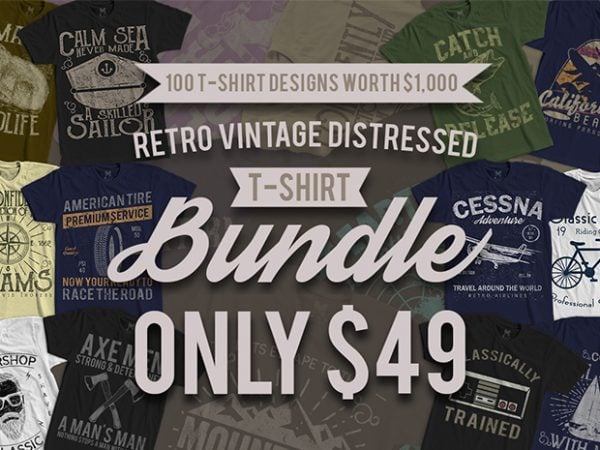 100 TSHIRT BUNDLE AD 2 600x450 - 100 Retro Vintage T-Shirt Designs buy t shirt design