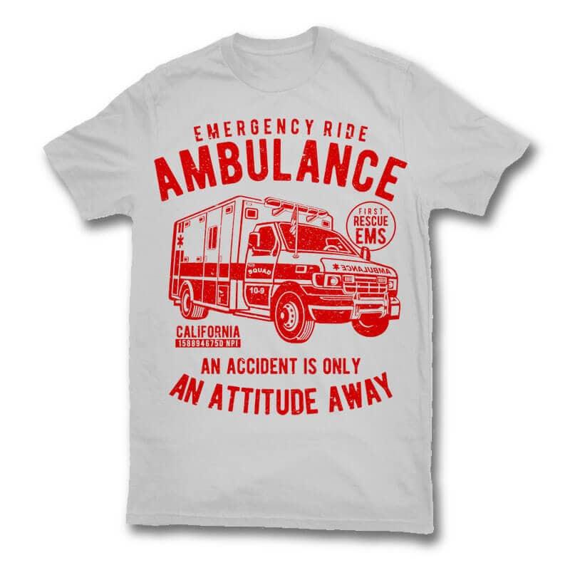 Ambulance vector t shirt design buy t shirt design