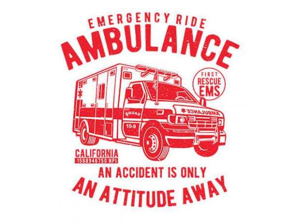 Ambulance vector t shirt design