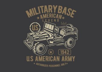 American Army Jeep vector design t shirt template