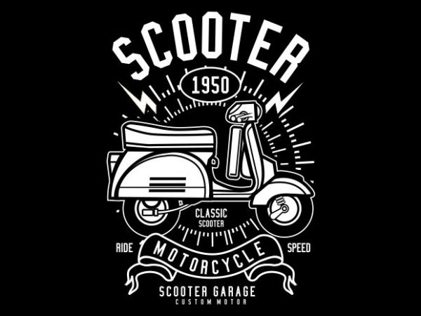 Scooter t shirt template vector