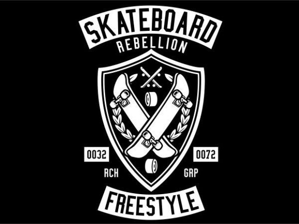 Skateboard Rebellion t shirt template vector