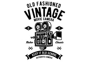 Vintage Movie Camera t shirt vector art