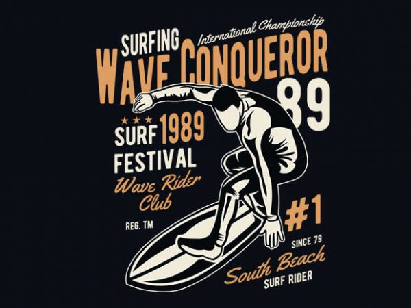 Wave Conqueror vector t shirt design buy t shirt design