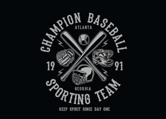 Champion Baseball t shirt design
