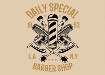 Daily Special Barber Shop t shirt design t shirt vector