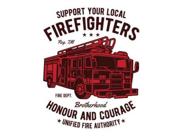 Fire Fighters Truck t shirt design