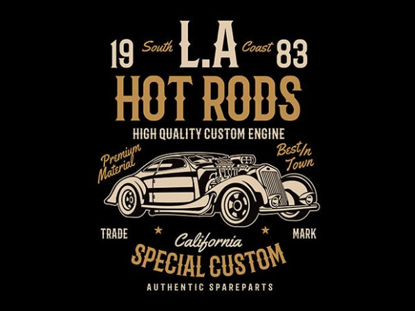 LA Hot Rods t shirt design buy t shirt design