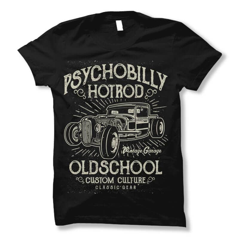 Psychobilly Hotrod t shirt design buy t shirt design