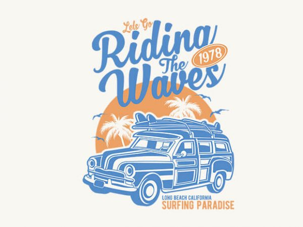Riding The Waves t-shirt design buy t shirt design