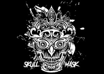 Skull Mask Ornaments t shirt template vector
