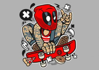 Deadpool Skater t shirt vector illustration