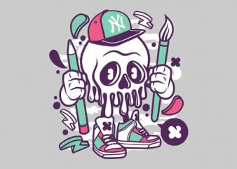 Skull t shirt template vector