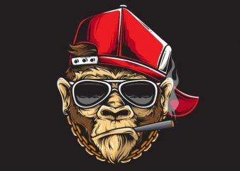 Cooling Ape t shirt vector file